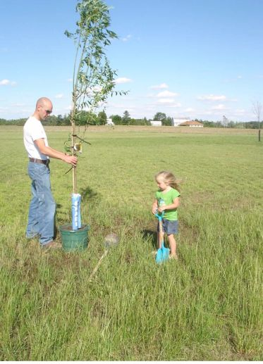Father's Day 2008-Scott and Gracie planting the willow tree in honor of Brad