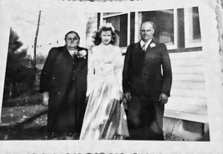 Aunt Lizzie, my grandma and Tates on Grandma's wedding day.
